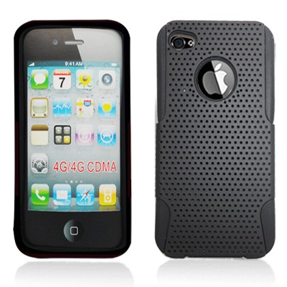 Apple iPhone 4 Black Perforated Dual Cover
